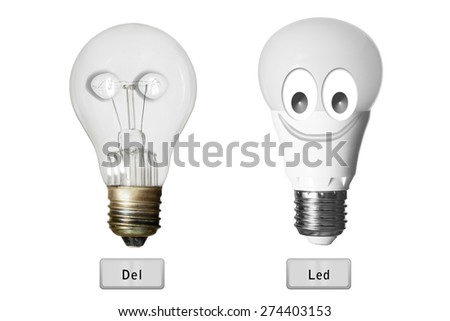 led bulb lamp  versus incandescence bulb lamp  isolated with clipping path  - stock photo