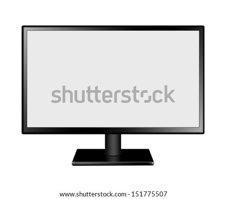 LED Computer Mornitor with blank screen on white background - stock photo