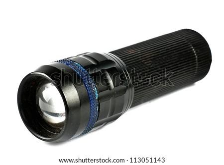 LED flashlight switched on, isolated on white - stock photo