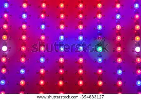 led grow light matrix, closeup view - stock photo