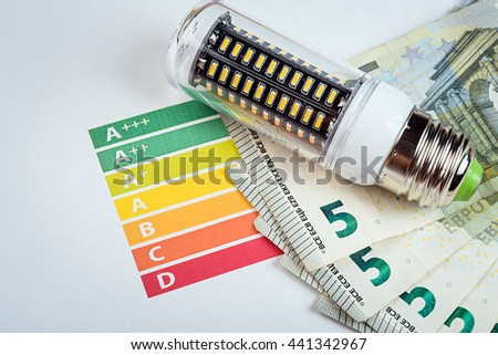 LED is energy saving lamp for save money. Eco concept - stock photo