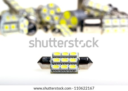 Led lamp for auto on the white background - stock photo