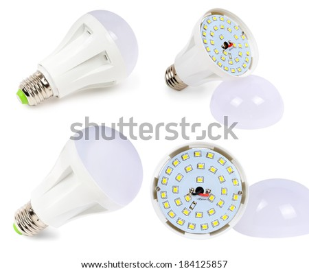 LED lamp with diffuser filmed and edited in different perspectives - stock photo