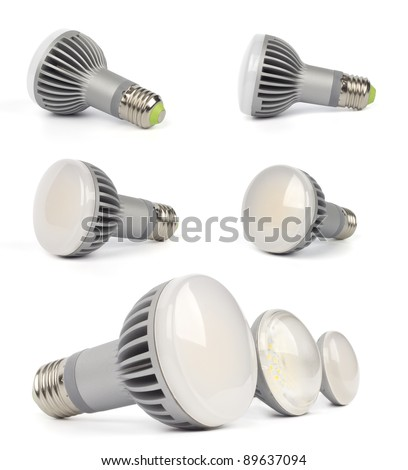 LED lamps collage - stock photo