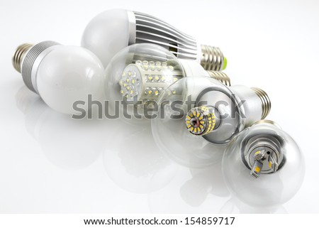 LED lamps E27  with a different chip technology depending on the power and cover glass - stock photo