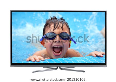 Led lcd tv showing a high picture quality of a happy boy swimming. isolated on white - stock photo