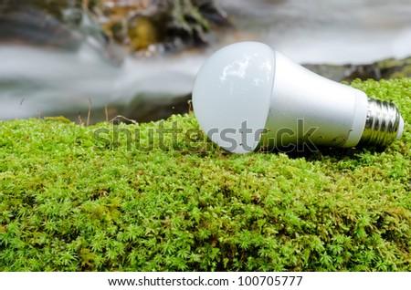 LED light bulb on the green moss near the brook - stock photo