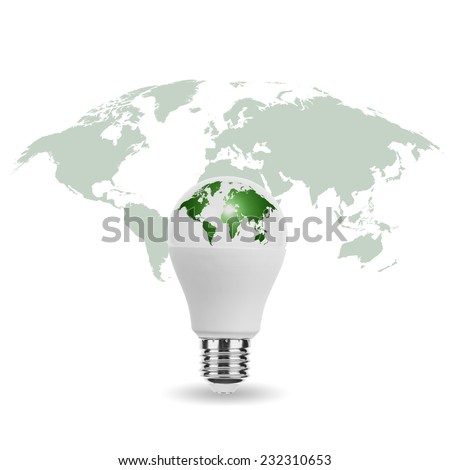 LED Light Bulb with World Map Eco Green - stock photo