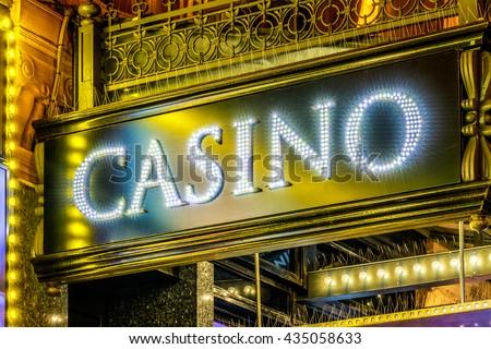 LED lighting casino sign - stock photo