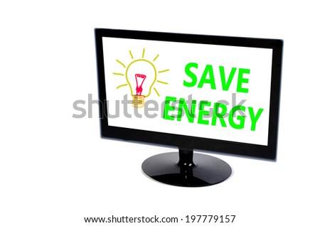 LED monitor Computer white white screen  isolated on white - stock photo