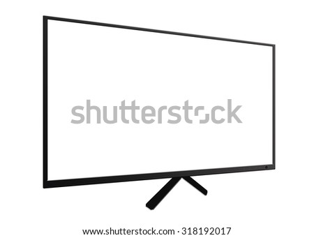 Led or lcd TV monitor isolated on white - stock photo