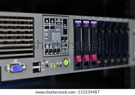 LED status of LAN showing on computer server - stock photo