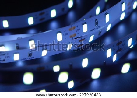 Led stripe is isolated on the black background - stock photo
