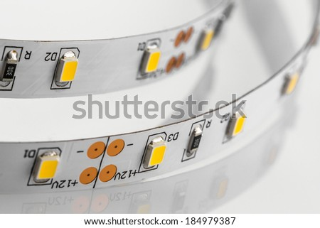 LED strips without silicone protection made a SMD 3-chips technologies - stock photo