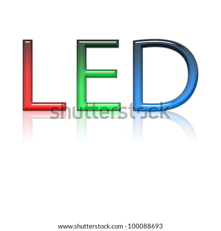 Led Text with reflection on white canvas - stock photo