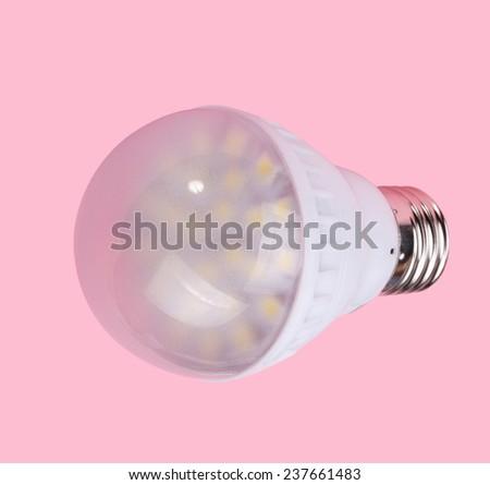 Led Tube Lamp on Pink Background - stock photo