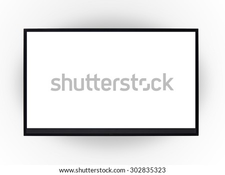 Led tv hanging on the wall background - stock photo
