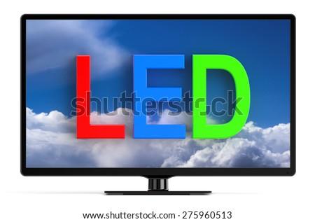LED TV set isolated on white background - stock photo