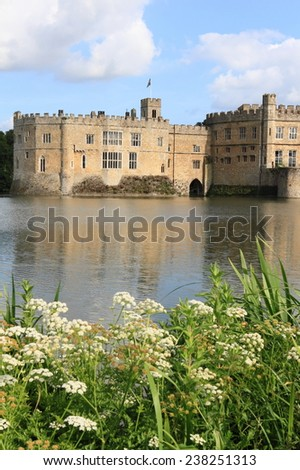Leeds Castle and garden in summer, England - stock photo
