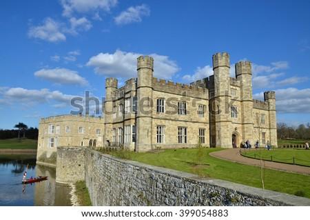Leeds Castle and lake, Kent, London, UK - stock photo