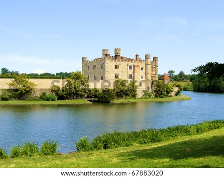 Leeds Castle and moat, England - stock photo