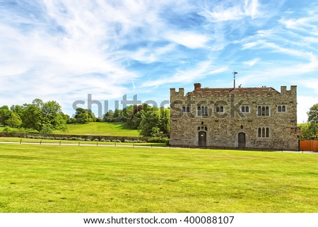 Leeds Castle in Kent in England. The castle was built in the twelfth century as a king residence. Now it is open to the public. - stock photo