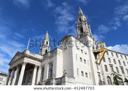 Leeds - city in West Yorkshire, UK. Civic Hall at Millennium Square. - stock photo