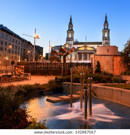 Leeds Civic Hall is a civic building housing Leeds City Council, located in Millennium Square, Leeds, West Yorkshire, England. Image no 220. - stock photo