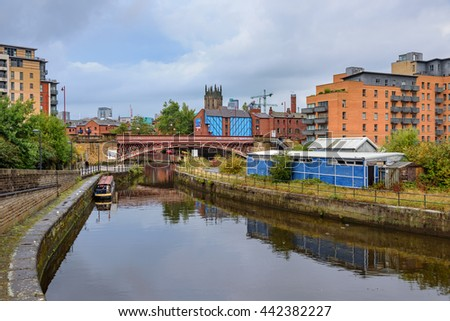 Leeds Dock is a mixed development with retail, office and leisure presence by the River Aire in central Leeds, West Yorkshire, England. - stock photo