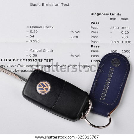 LEEDS - OCTOBER 1: Mot exhaust emissions test result. Volkswagen admit to fitting diesel engined vehicles with devices which could effect the outcome of emissions tests, October 1, 2015 Leeds. - stock photo