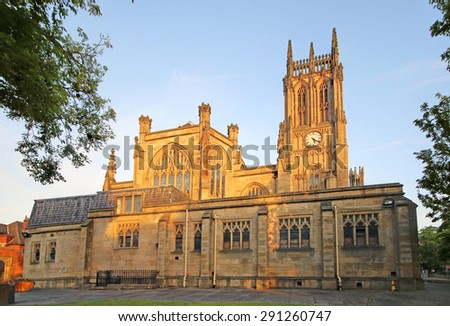LEEDS, UK - JUNE 6, 2015:  Leeds Parish Church. The Leeds City Region is the UK largest economy and population centre outside London, generating 4% of national economic output - stock photo