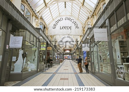 LEEDS, UK - SEPTEMBER 21, 2014: Grand Arcade. The Leeds City Region is the UKâ??s largest economy and population centre outside London, generating 4% of national economic output - stock photo
