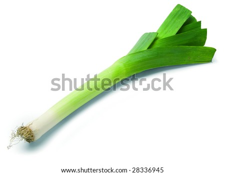 leek isolated on white background. Clipping Path included. - stock photo