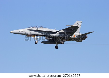 LEEUWARDEN, NETHERLANDS - APRIL 15, 2015: Spanish Air Force F-18 Hornet landing during the exercise Frisian Flag. The exercise is considered one of the most important NATO training events this year. - stock photo