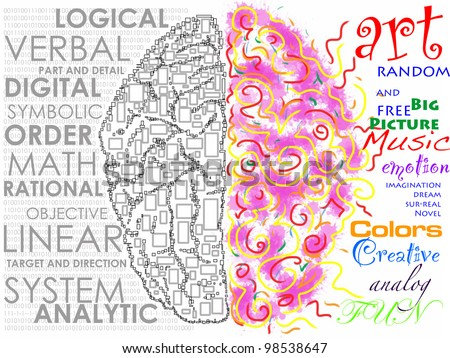Left and Right brain function illustration - stock photo