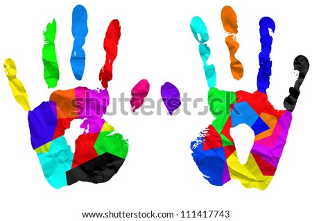 Left and right hand ,Colorful  paint on clumped paper isolated on white background - stock photo