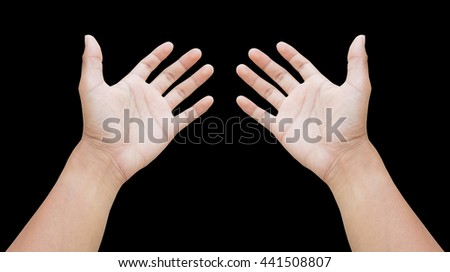 left and right hand of a business man show empty hand to help, receive, lift sign. hand in grab action, hug. two hand, palm, forearm. on white background - stock photo