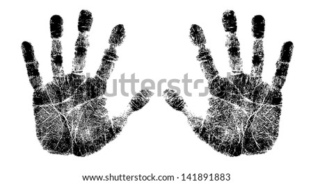 left and right hand print - stock photo