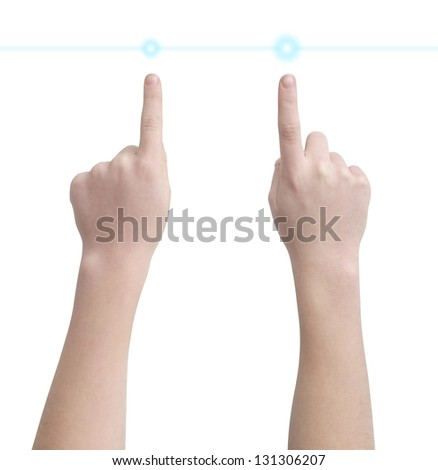 Left and right hands pointing on virtual buttons, isolated on white, clipping path - stock photo