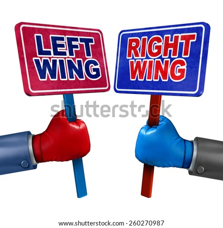 Left and right politics concept as two election candidates representing conservative and liberal values as democrat and republican debate using signs and boxing gloves. - stock photo