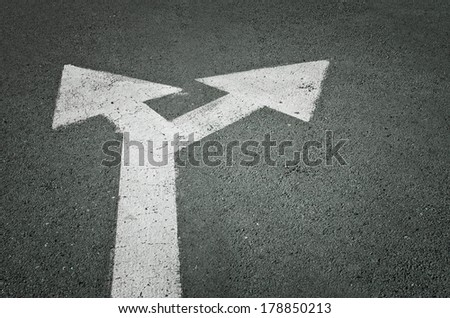 Left and right road sign on the road - stock photo