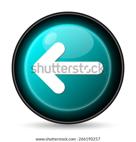 Left arrow icon. Internet button on white background.  - stock photo