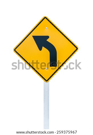 Left direction traffic signs on the white background. - stock photo
