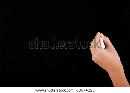Left Hand writing on a blackboard in white - stock photo