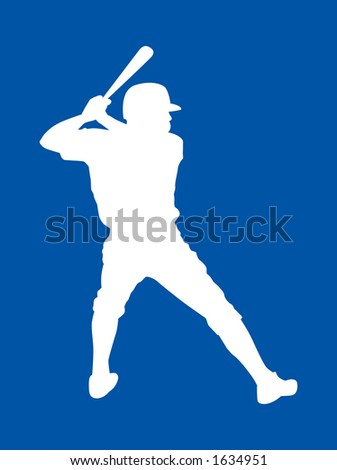 Left handed baseball player silhoutte getting ready for the pitch.  CLIPPING PATHS INCLUDED - stock photo