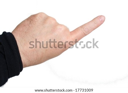 Left index finger pointing; middle-aged skin type (around 50); white background - stock photo