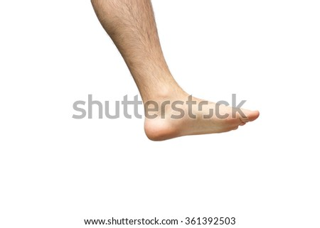 left men foot isolated on white background - stock photo