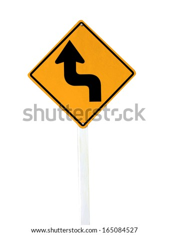 Left Sharp turn traffic road sign isolated on white background. - stock photo