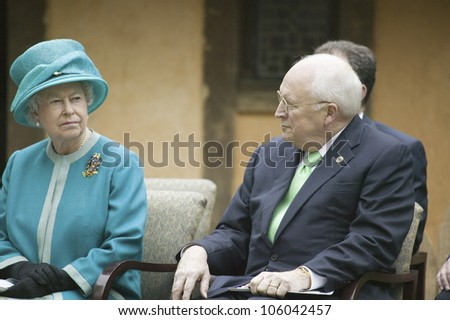 Left to right, Her Majesty Queen Elizabeth II and Vice President Dick Cheney observing ceremony at James Fort, Jamestown Settlement, Virginia on May 4, 2007. - stock photo