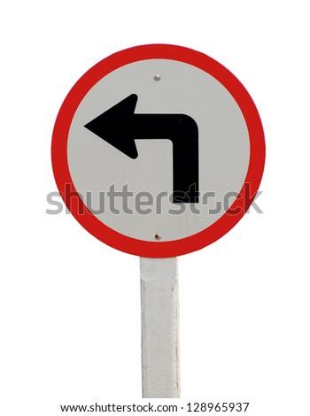 Left turn road sign on white background - stock photo
